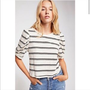Free People Molly Striped Puff Sleeve Cropped Tee